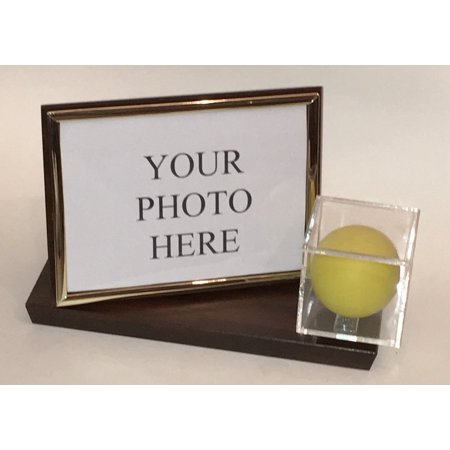 Photo Display Case - Lacrosse Ball and 4X6 Photo Personalized Horizontal Desktop Display Case - Cherry Finish Wood Base and Gold Frame