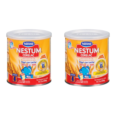 (2 Pack) Nestle Nestum Cerelac Wheat Infant Cereal with Milk 14.1 oz.