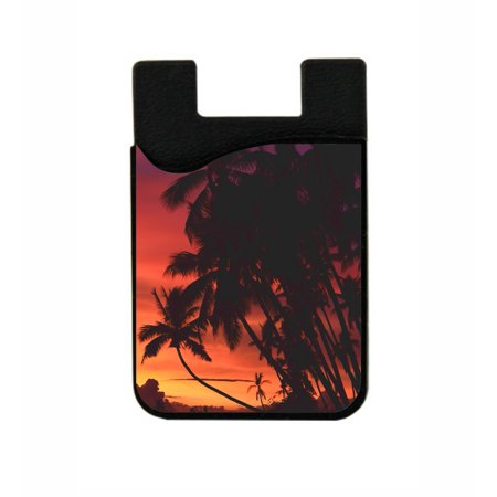 Palm Tree Sunset  - Stick On Adhesive Black Silicon Card Holder/ Pocket for Cell Phones