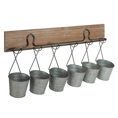 Kate and Laurel - Pailey Wall Mounted Multi-Functional Wall Storage Organizer or Planters with Rustic Wood Plaque and 6 Galvanized Mini Metal Buckets - Mini Galvanized Buckets