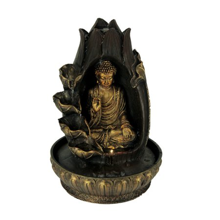 Buddha Meditating In Lotus Flower Led Lighted Tabletop Fountain