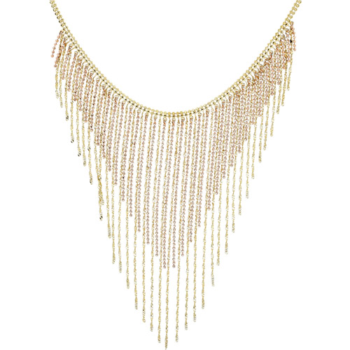 """18kt Yellow Gold over Sterling Silver Bead Fringe Necklace, 19"""""""
