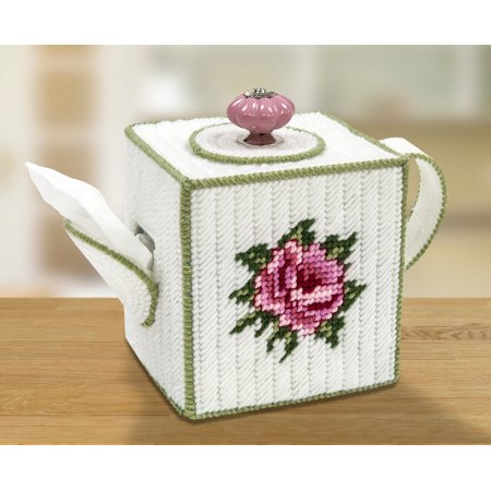 Tuck Box Tea Room - Mary Maxim Teapot Tissue Box Cover Plastic Canvas Kit