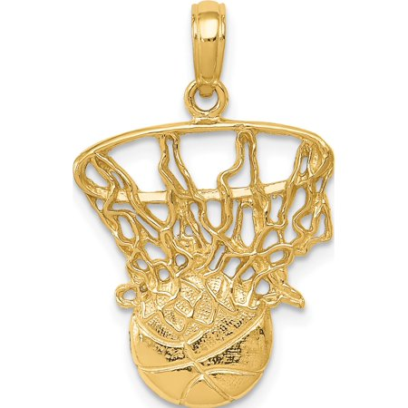 14k Yellow Gold Swoosh Basketball and Net (16x26mm) Pendant / Charm