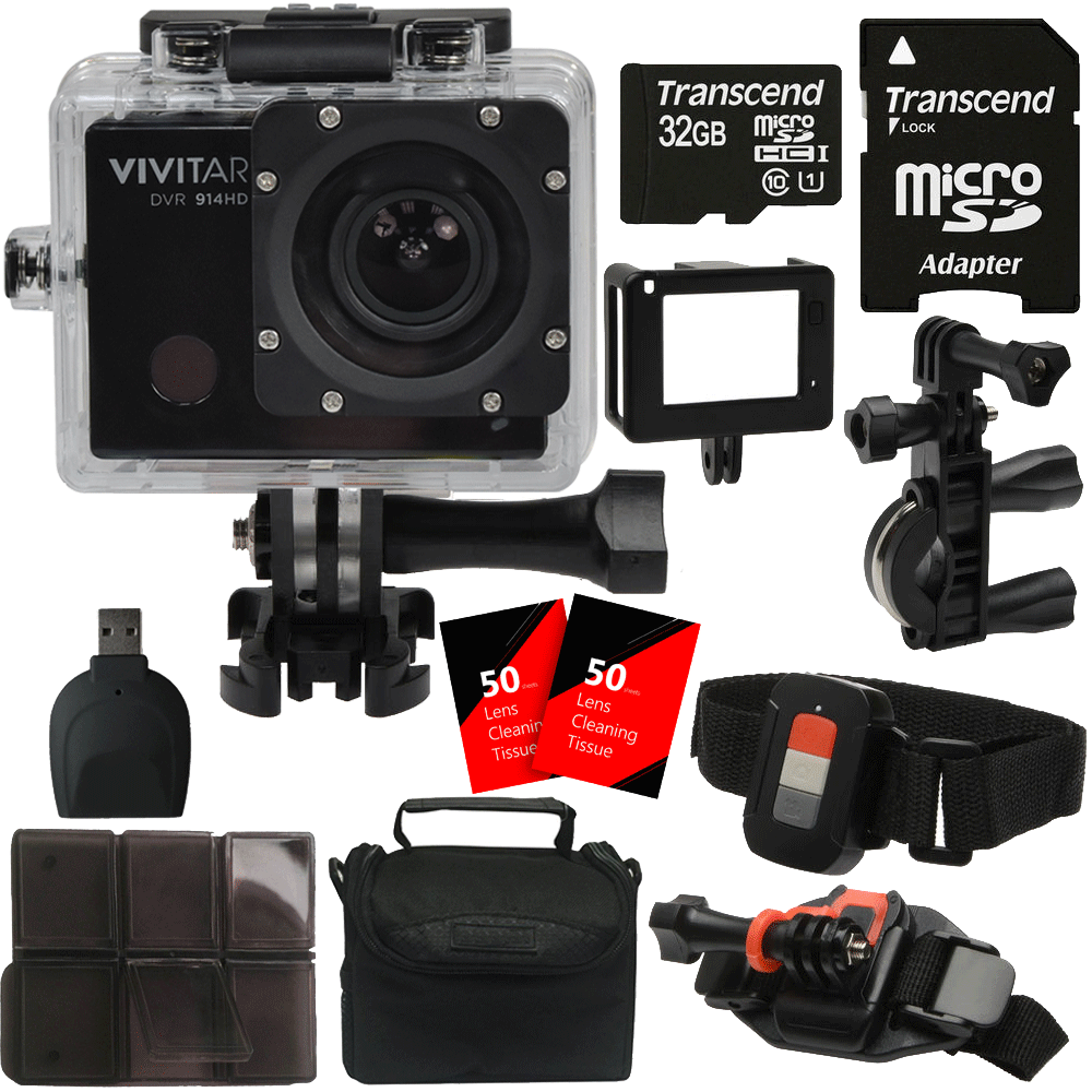 Vivitar DVR914HD 1440p HD Wi-Fi Waterproof Action Video Camera Camcorder with 32GB Accessory Kit