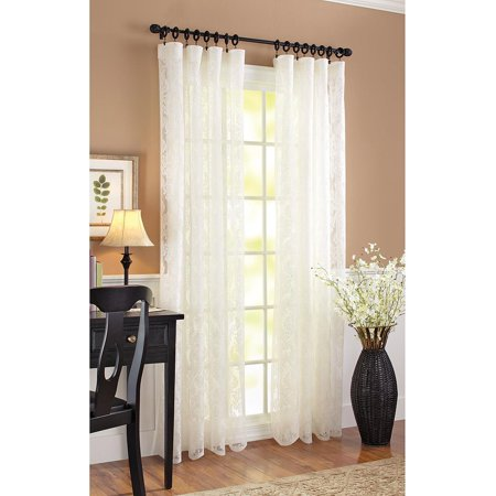 Better Homes & Gardens Lace Damask Curtain Panel, Cream (Lace Door Curtains)