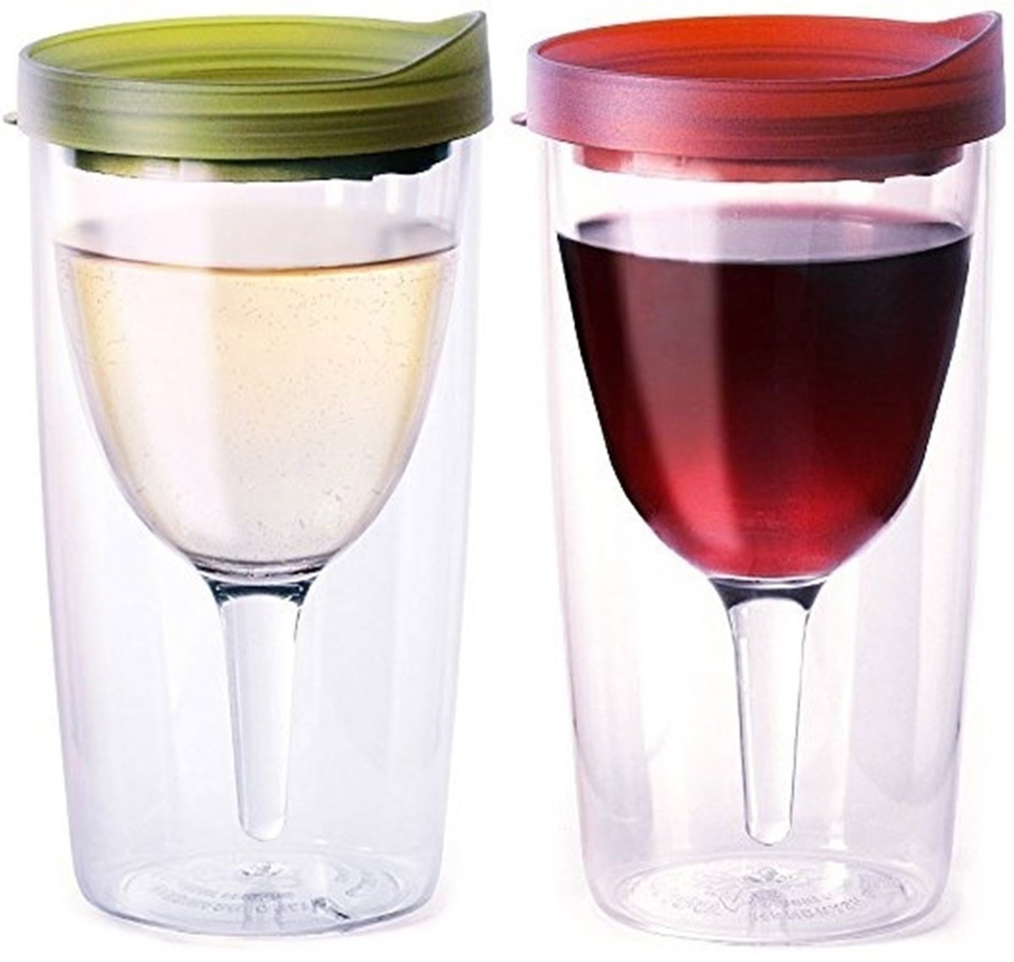 Vino2Go Double Wall Insulated Acrylic Wine Cup Tumbler with Verde and Merlot Slide Top Lid, 10 oz, Pack of 2