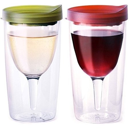 Vino2Go Double Wall Insulated Acrylic Wine Cup Tumbler with Verde and Merlot Slide Top Lid, 10 oz, Pack of - Tumblers With Lids