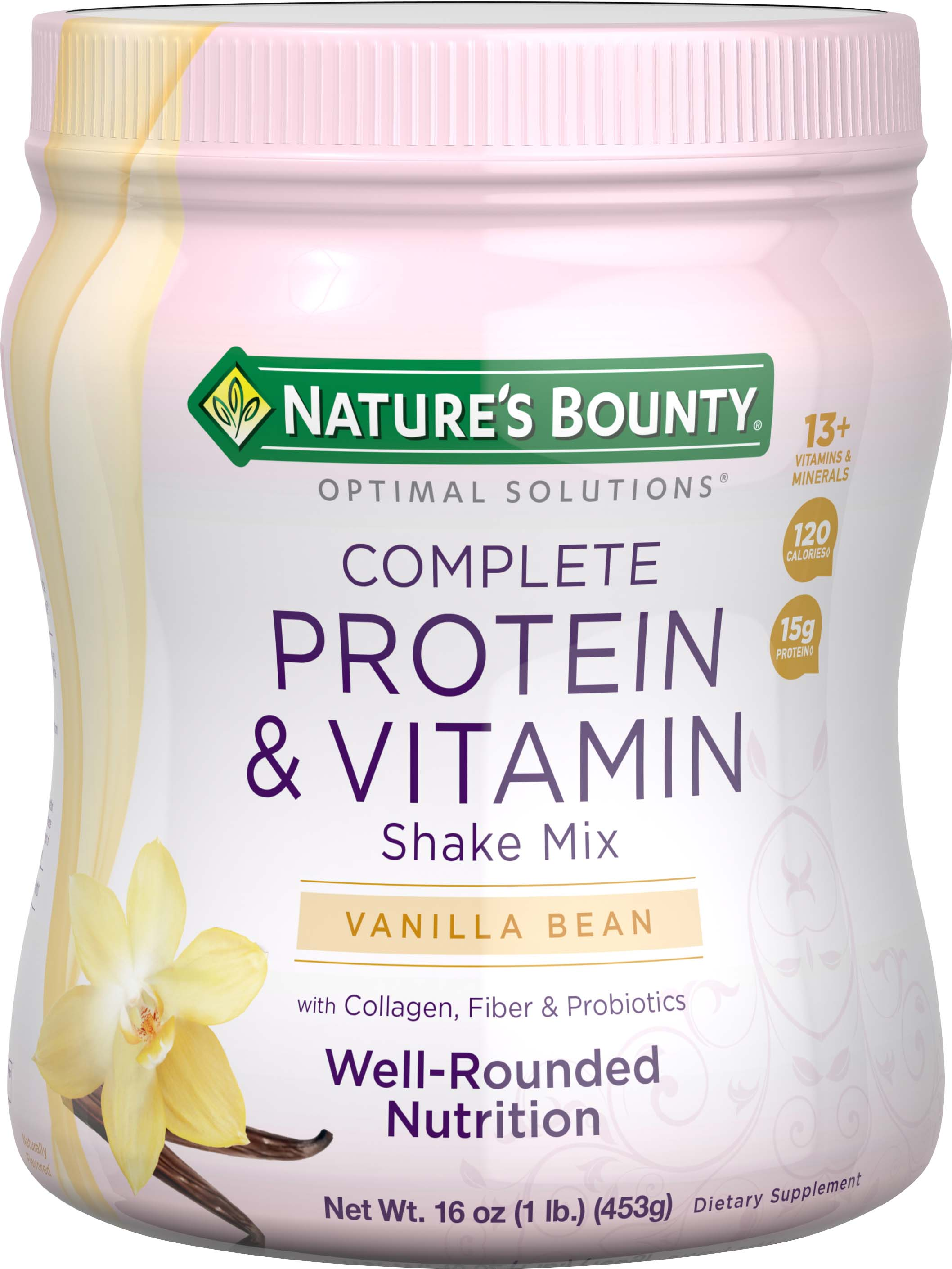 NATURES BOUNTY OPTIMAL SOLUTIONS COMPLETE PROTEIN & VITAMIN SHAKE MIX
