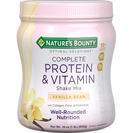 Nature's Bounty Optimal Solutions Protein Shake Vanilla, 16 Ounce Jar, Protein and Vitamin Shake for (Best Protein Shakes To Gain Weight Fast)