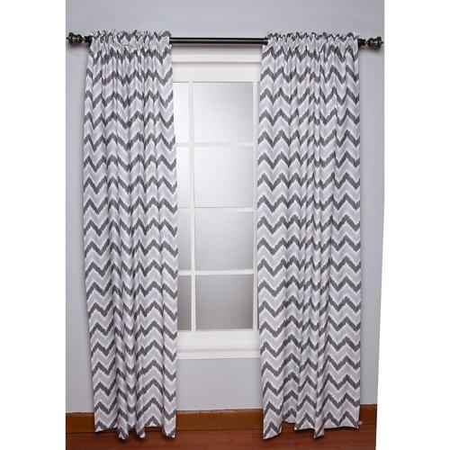 Bacati - Ikat Zigzag Chevron Grey Curtain Panel 42 x 84 inches 100% Cotton Percale Fabrics, Grey