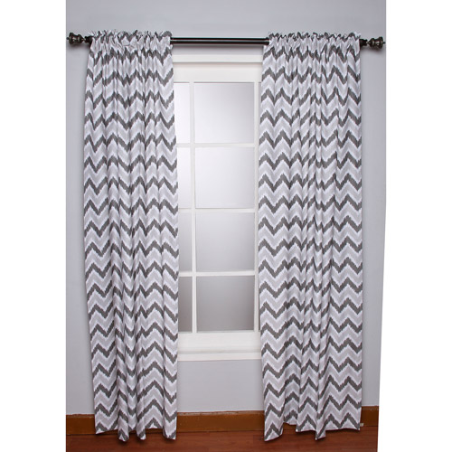 Bacati - Ikat Zigzag Chevron Grey Curtain Panel 42 x 84 inches 100% Cotton Percale Fabrics, Grey