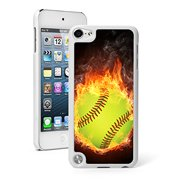 For Apple iPod Touch 5th / 6th Generation Hard Back Case Cover Flaming Softball (White)