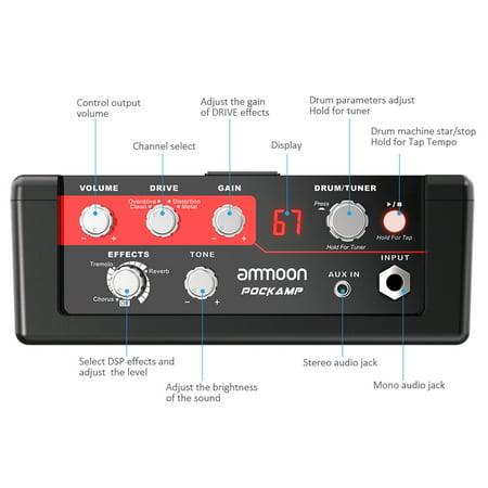 ammoon POCKAMP Amplificateur de guitare portable Multi-effets intégrés 80 tambours rythmiques Prise en charge de l'accordeur Tap Tempo Fonctions avec entrée auxiliaire Sortie casque, adaptateur se - image 5 of 7