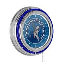 Minnesota Timberwolves NBA Chrome Double Ring Neon Clock