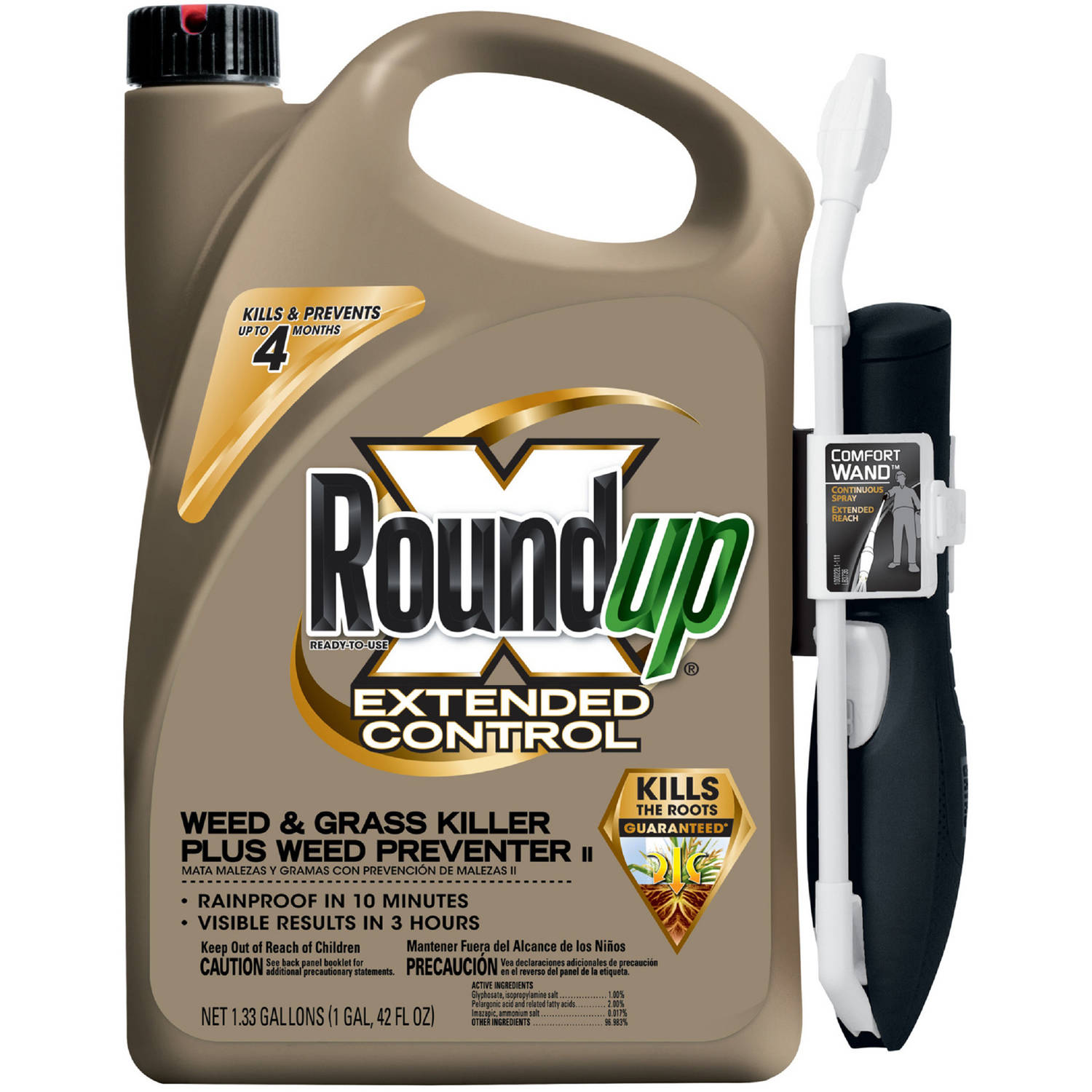 Roundup Ready-To-Use Extended Control Weed & Grass Killer Plus Weed Preventer One-Touch Wand, 1.33 gal