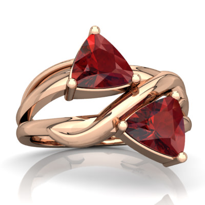 Garnet Split Band Swirl Ring in 14K Rose Gold by