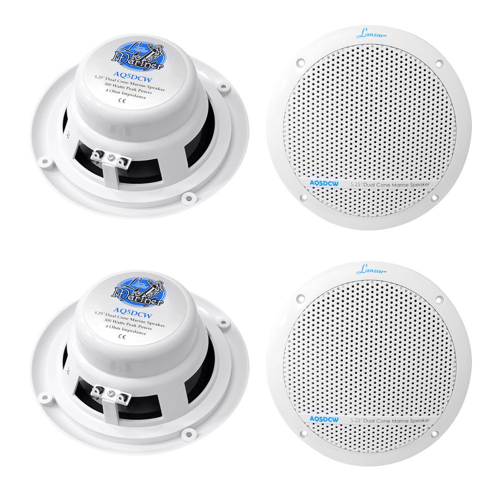 "4) LANZAR AQ5DCW 5.25"" 600W Dual Cone Marine Boat Speakers Water Resistant White"