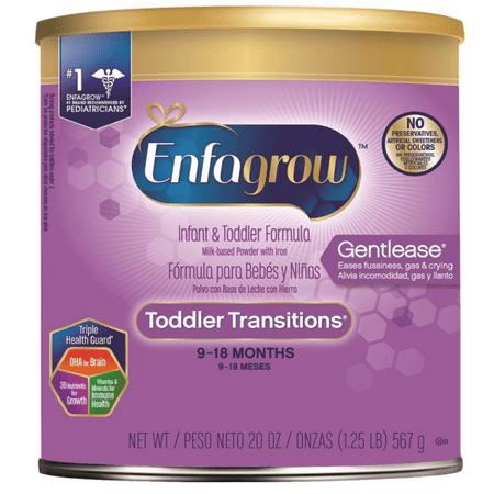Enfagrow Toddler Transitions Gentlease Infant and Toddler Formula, Powder, 20 Ounces