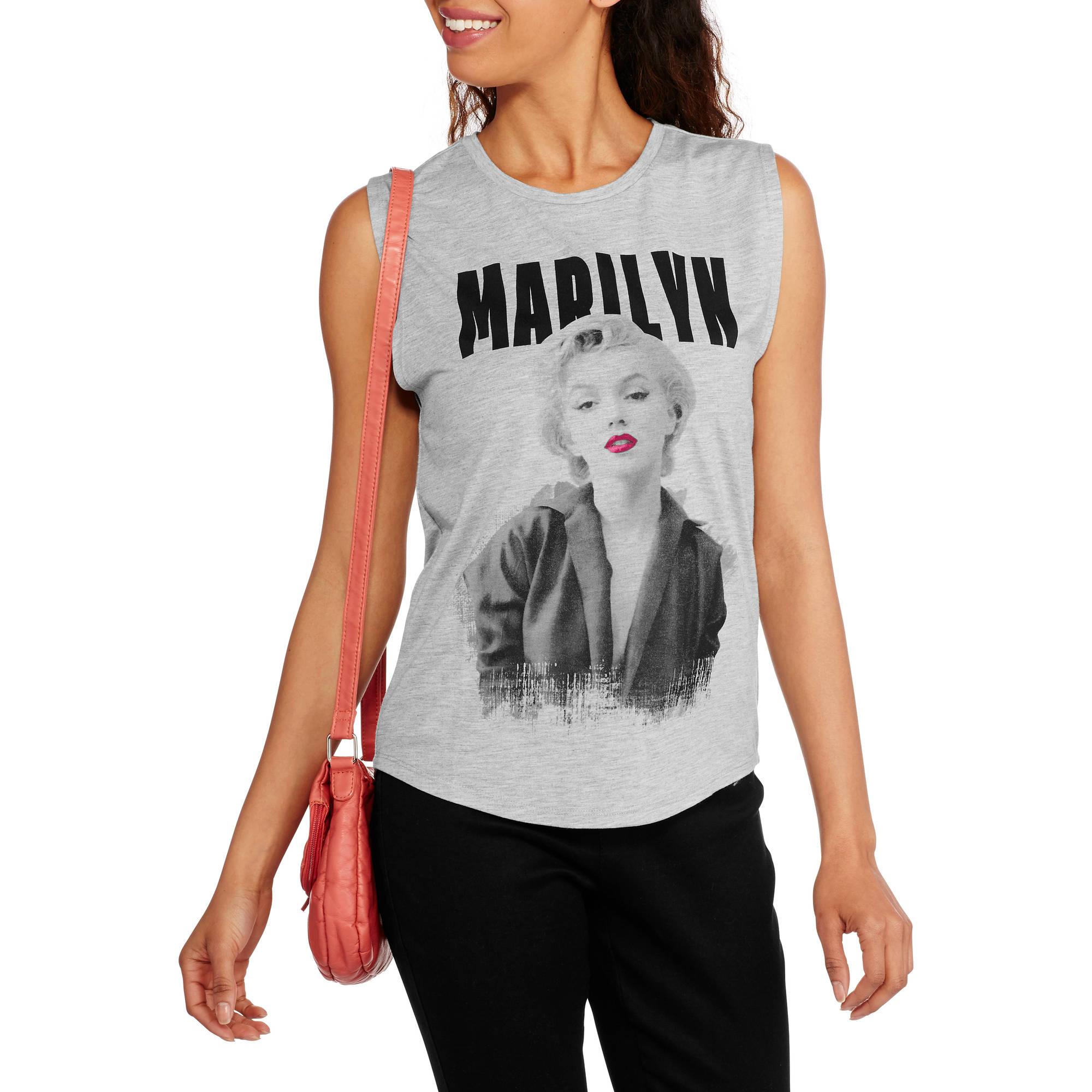 Marilyn Monroe Juniors' Graphic Shirttail Muscle Tank