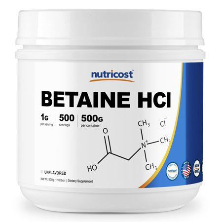 Nutricost Betaine HCl Powder 500 Grams- Gluten Free &