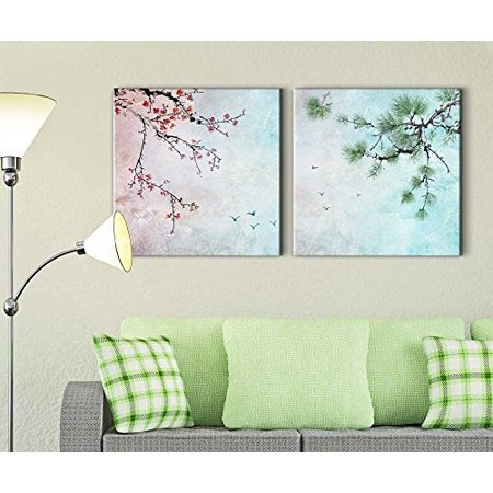 wall26 2 Piece Beautiful Watercolor Painting of a Cherry Blossom and a Pine Tree - Canvas Art Home Decor - 24x24 inches Cherry Blossom Tree Art
