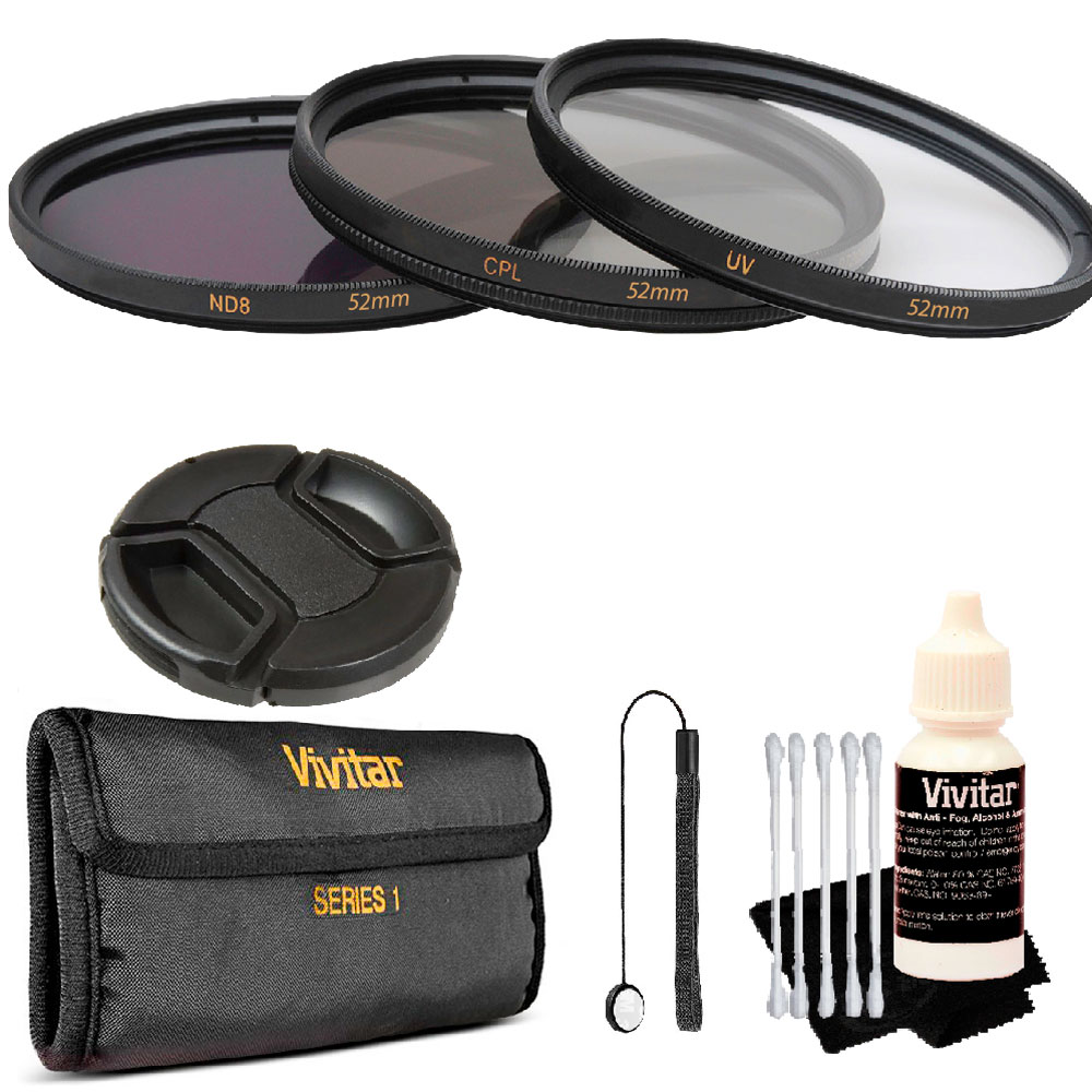 Vivitar 52mm 3Pc UV/CPL/ND8 Filter Kit + Top Accessory Kit for All 52mm Lenses