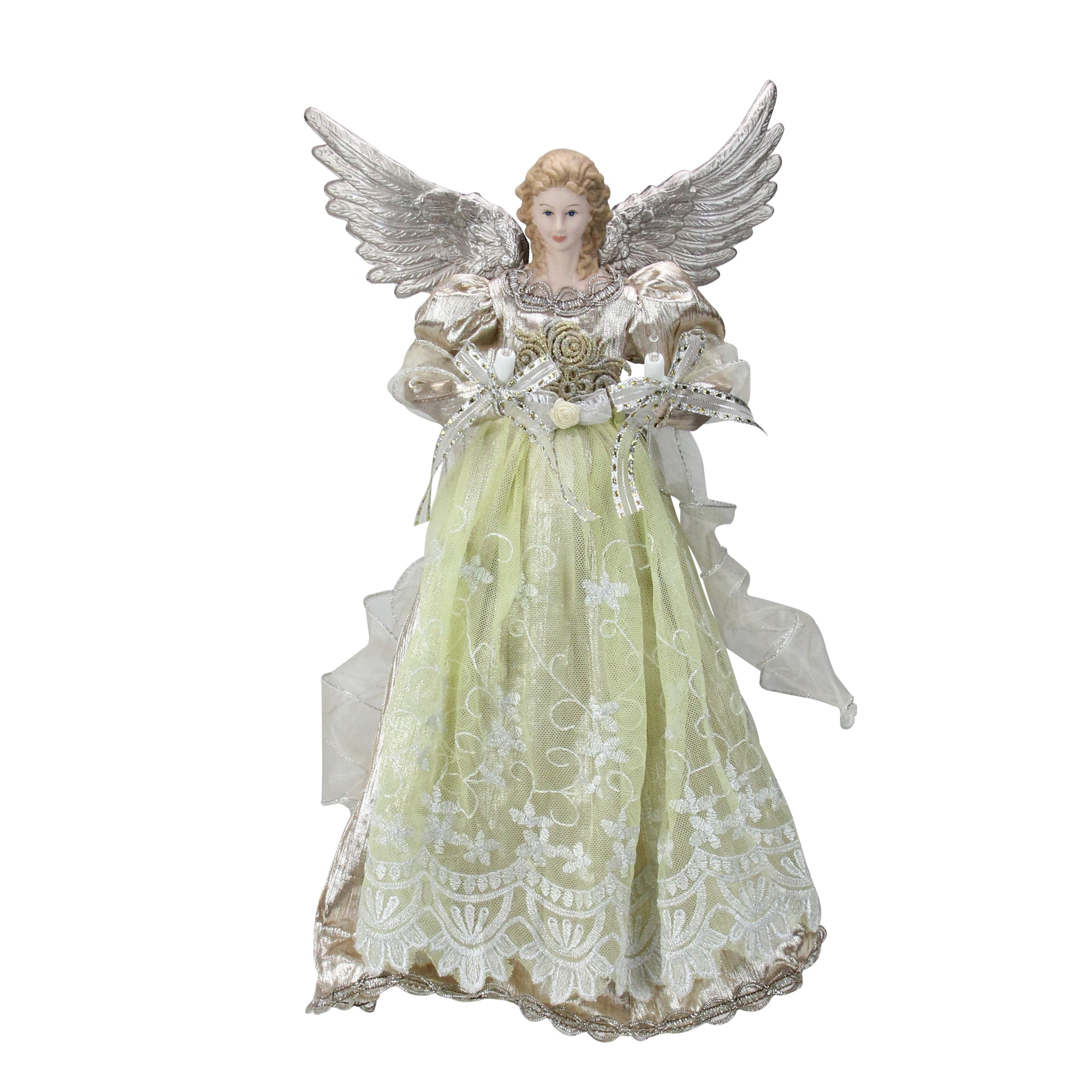 "Christmas Tree Angel Tree Topper: 16"" Lighted Rose Gold Angel Christmas Tree Topper"