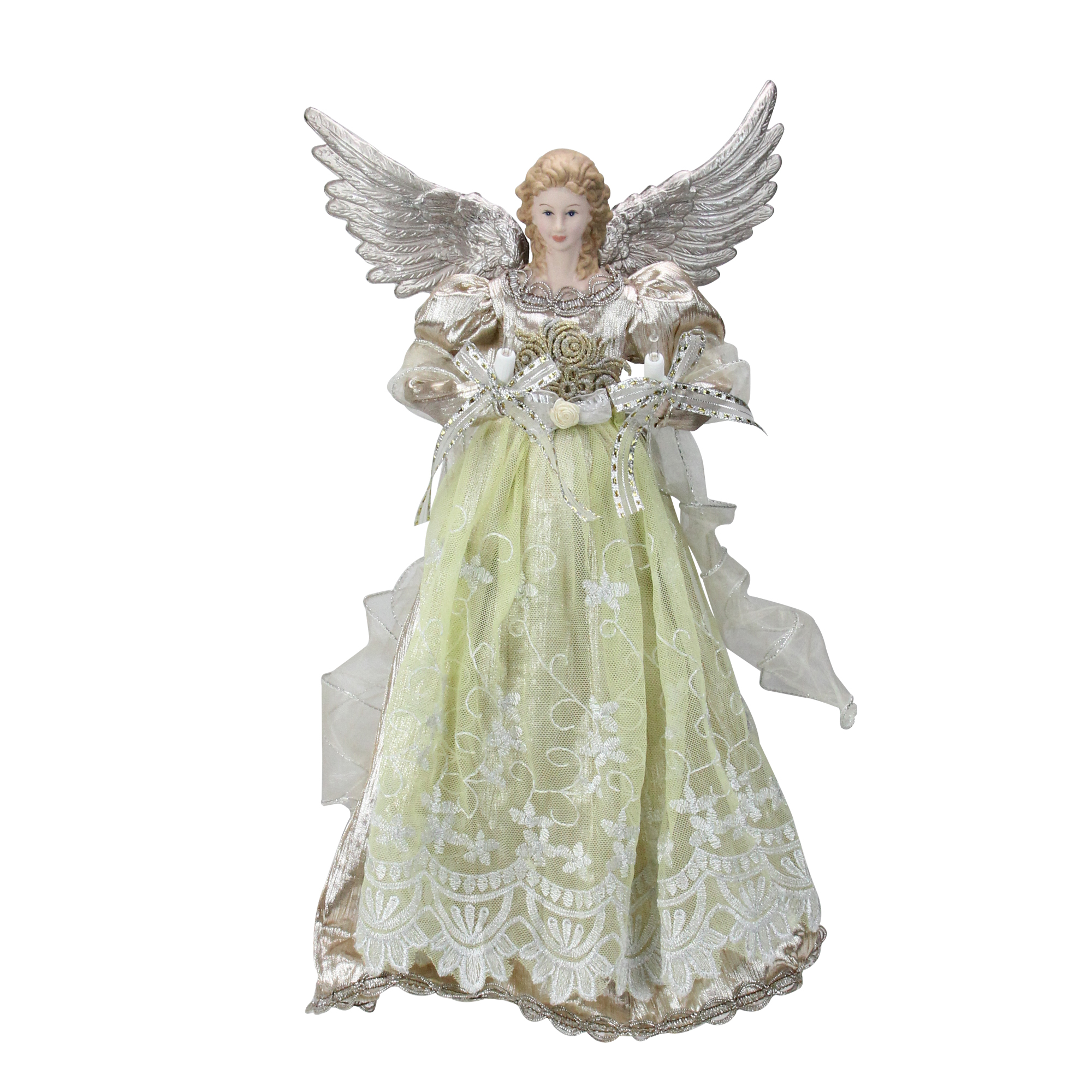 """16"""" Lighted Rose Gold Angel Christmas Tree Topper - Clear Lights"""