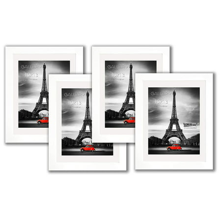 "Studio 500, 4-Pack of White 10x13"" Real Solid Pine Wood Photo Frames with Tempered Glass and Acid-Free Ivory White Core Mat Board for 8.5x11 Documents or Photos"