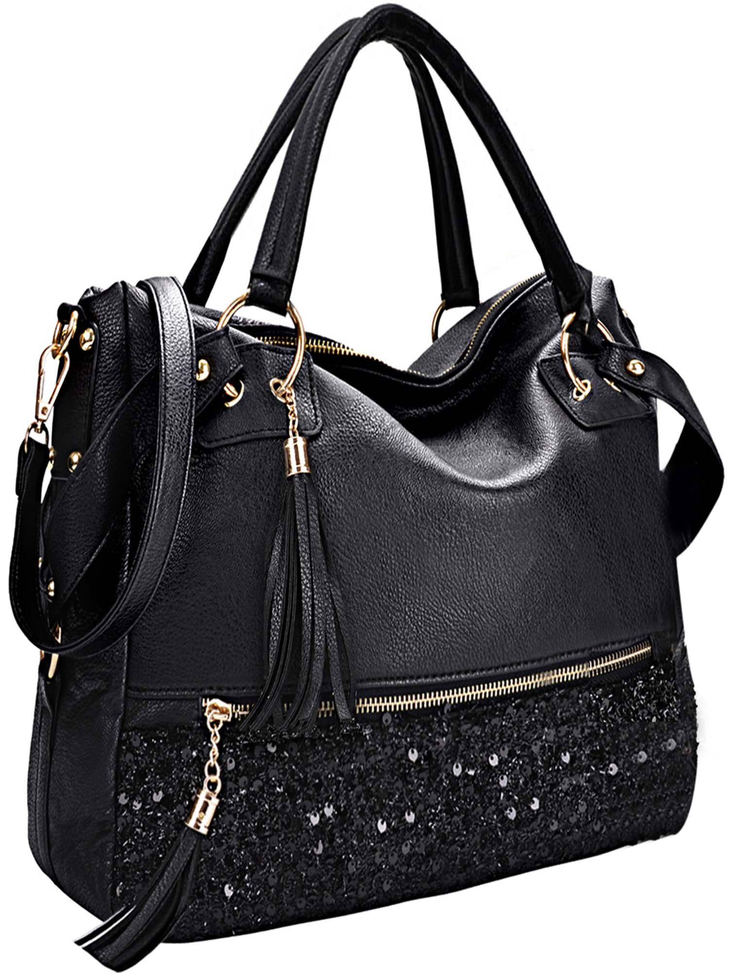 Womens Handbags, Coofit Fashion Punk Style Shining Sequin Faux Leather Tote Bag...