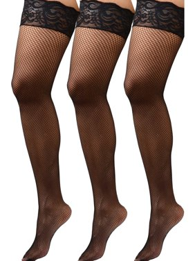 1cf191e40 Product Image Womens Plus Size Hosiery Black Fishnet Lace Top Stay Up  Silicone Thigh High Stockings- 3