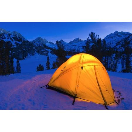 Sierra Designs Womens Tent - Yellow dome tent in winter, John Muir Wilderness, Sierra Nevada Mountains, California, USA Print Wall Art By Russ Bishop