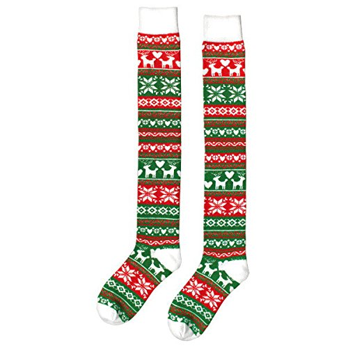 Amscan Unisex-Child Warm Christmas, Socks Sweater Style (Red, Green and White Stripes) Women Socks, Over the Knee (Reindeer, Snowflakes and Hearts)