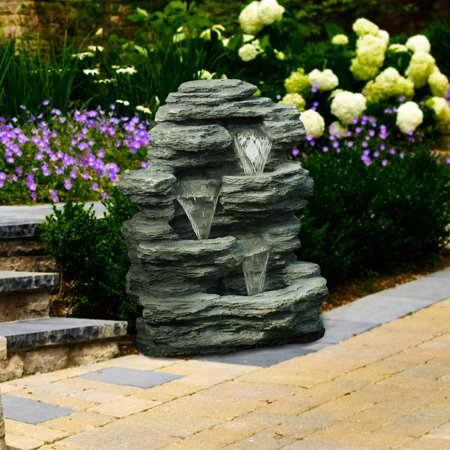 Stainless Steel Outdoor Fountain (Pure Garden Cascade Rock Outdoor Fountain )