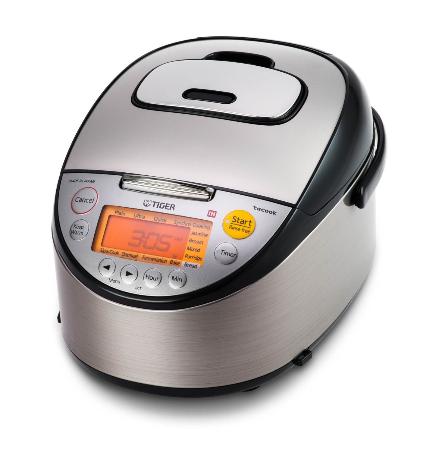 Tiger JKT-S10U-K 5.5-Cup (Uncooked) IH Rice Cooker with Slow Cooker & Bread Maker, Stainless Steel Black