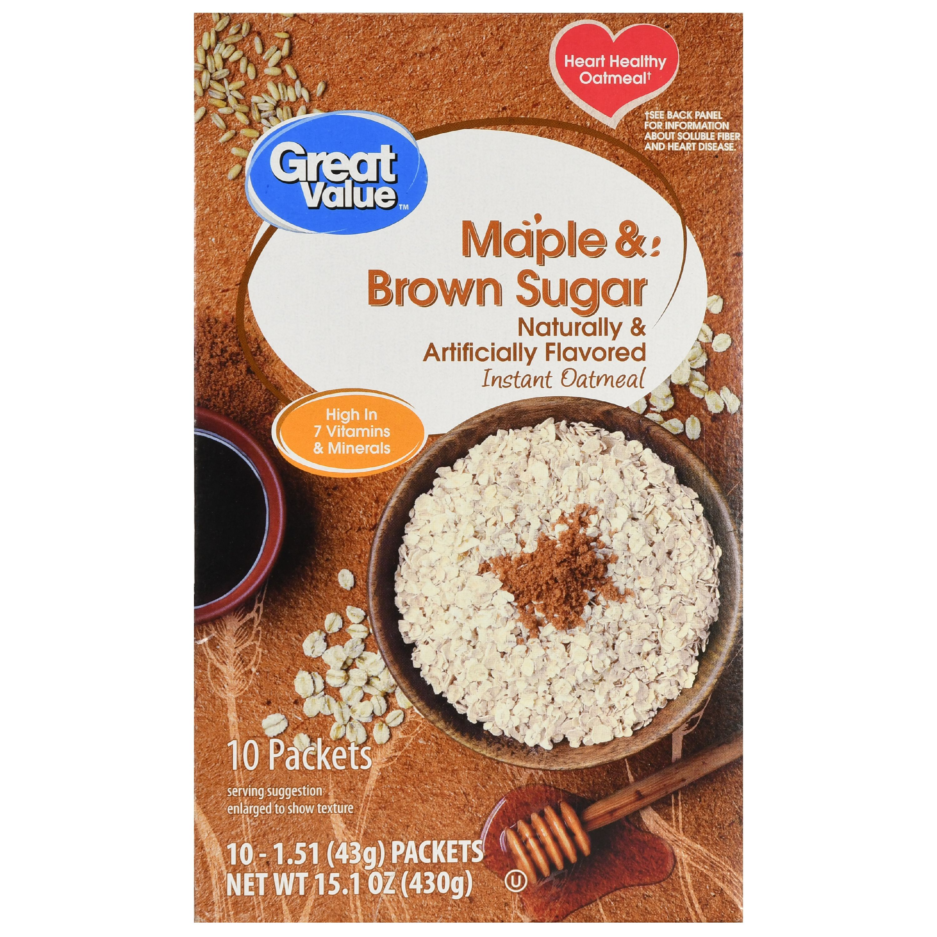 Great Value Instant Oatmeal, Maple & Brown Sugar, 1.51 Oz, 10 Ct