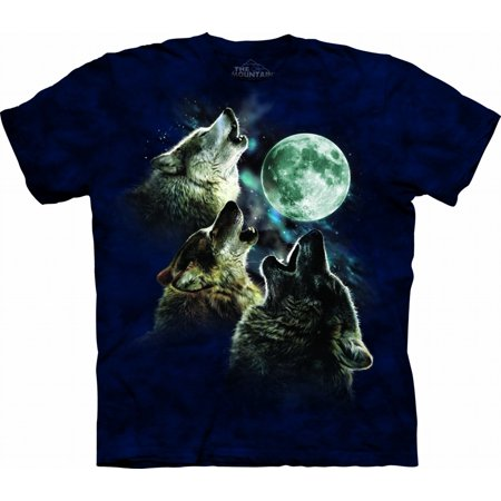 Blue 100% Cotton Three Wolf Moon In Blue T-Shirt ()
