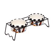 Pooch/Whiskers Small Dog Bowls with Dual Bowl Stand