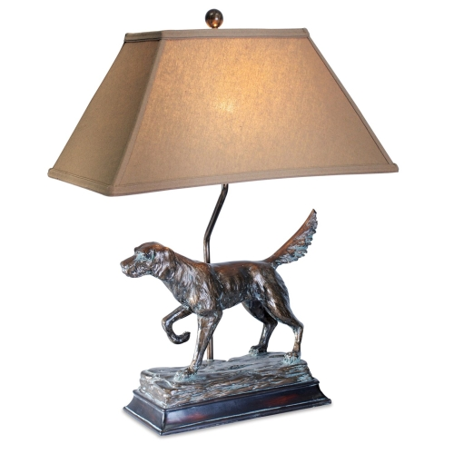 Lodge Hunting Dog Table Lamp, Antique