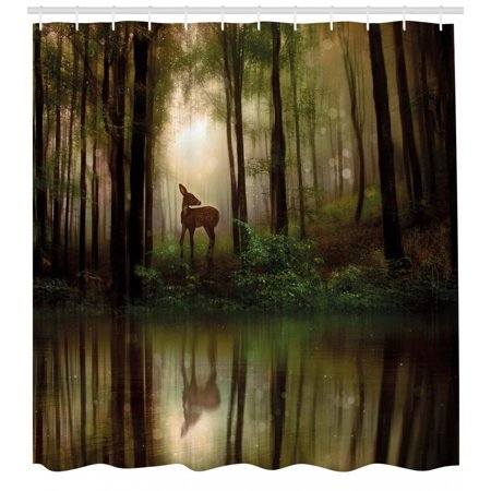 Nature Shower Curtain, Baby Deer in the Forest with Reflection on Lake Foggy Woodland Graphic, Fabric Bathroom Set with Hooks, Fern Green Cocoa Brown, by (Reflector Shower)