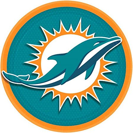 Miami Dolphins Lunch Plates NFL Football Sports Party Disposable Tableware, Paper, 9', Round, Pack of 8.