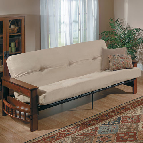 Mainstays Deluxe Wood Futon With Tan Fabric-fr