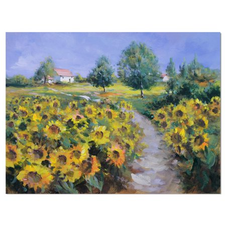 Painted Sunflower (DESIGN ART Designart 'Painted sunflowers field' Floral photography on Wrapped Canvas - Green )