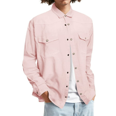 Mens Long Sleeve Denim Shirt Slim Fit Chambray Long Sleeve Button Down Shirt with (Long Sleeve Bottom Down Shirt)