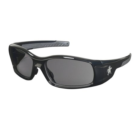Crews SR112 Swagger Brash Look Polycarbonate Dual Lens Glasses with Polished Black Frame and Gray Lens, Swagger safety glass made of non-slip.., By MCR