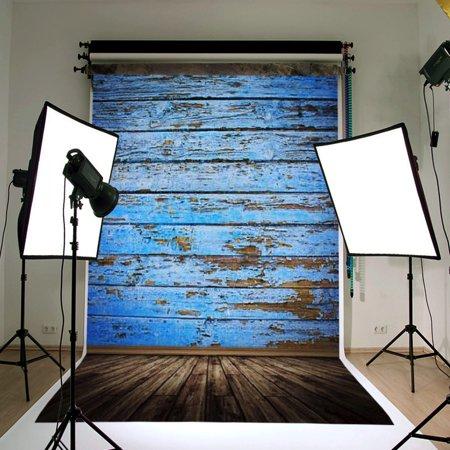 3ftx5ft Vintage Vinyl Fabric Blue Wood Floor Photography Background Backdrop Screen Studio Photo Props
