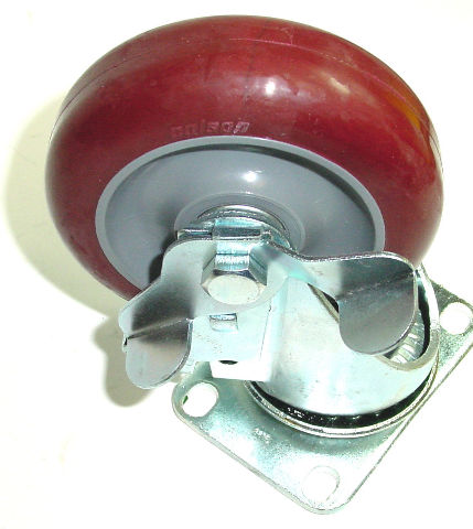 """Colson Swivel Caster with Polyurethane 5"""" x 1-1/4"""" Wheel with Side Lock Brake"""