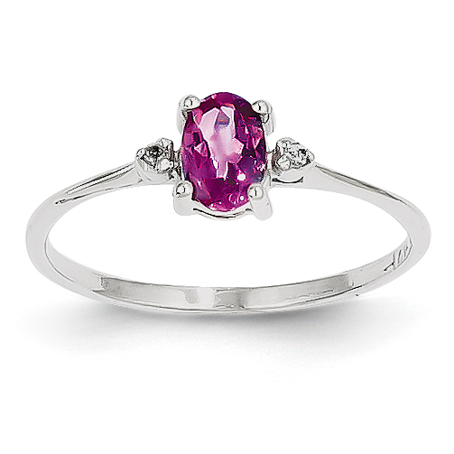 14k White Gold White Diamond & Pink Tourmaline Birthstone Ring by