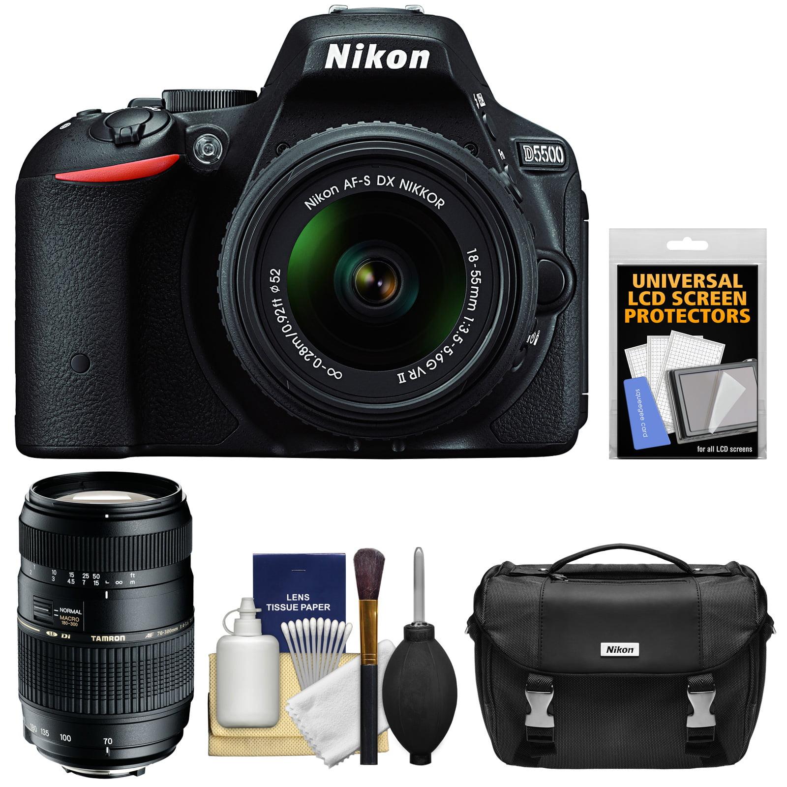Nikon D5500 Wi - Fi Digital SLR Camera & 18 - 55mm VR DX II Lens (Black)  -  Factory Refurbished with 70 - 300mm Zoom Lens + Case + Kit